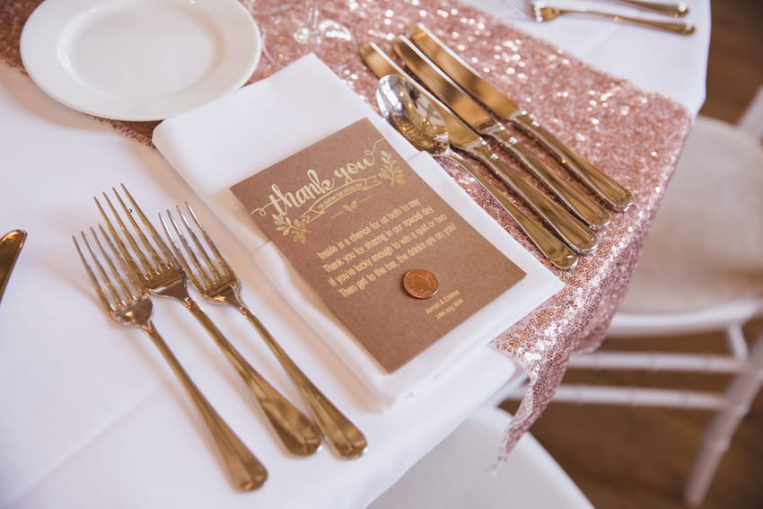 rose gold wedding setting with sequin runners