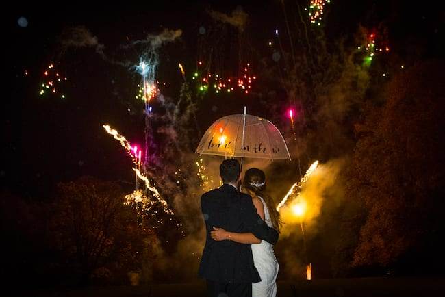 Bride Groom fireworks display Notley Abbey