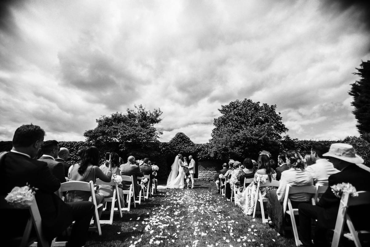 black and white wedding photography Notley Abbey outdoor ceremony