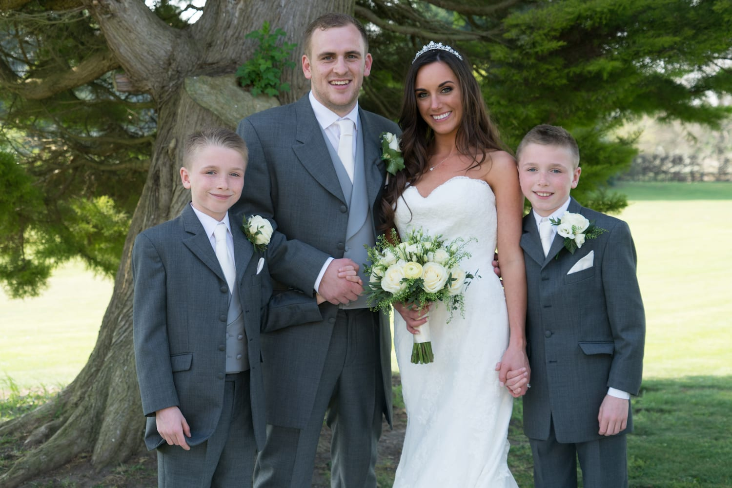 Bride Groom family shot as newlyweds