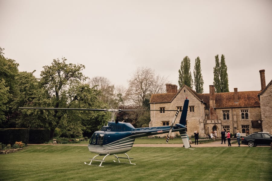 Wedding bridal helicopter entrance Notley Abbey