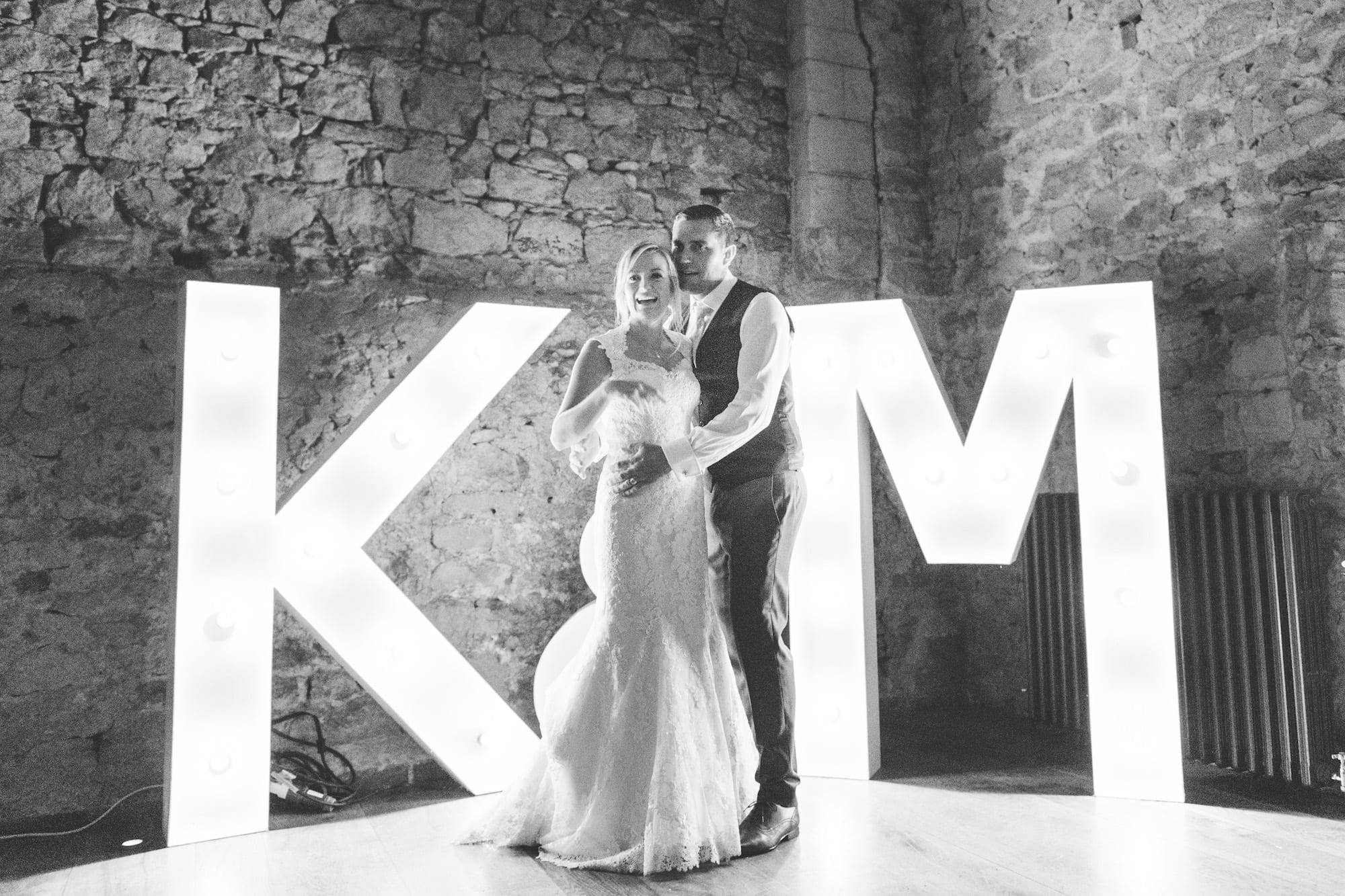 Light up letters Bride and Groom initials