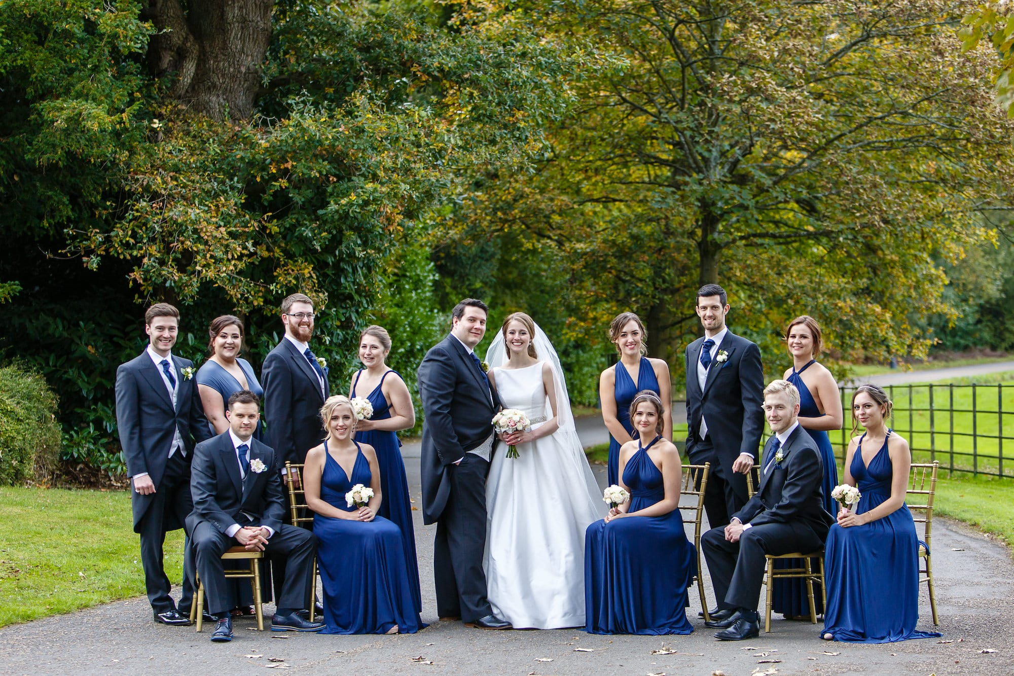 Botleys Mansion bridal party outdoor group photo