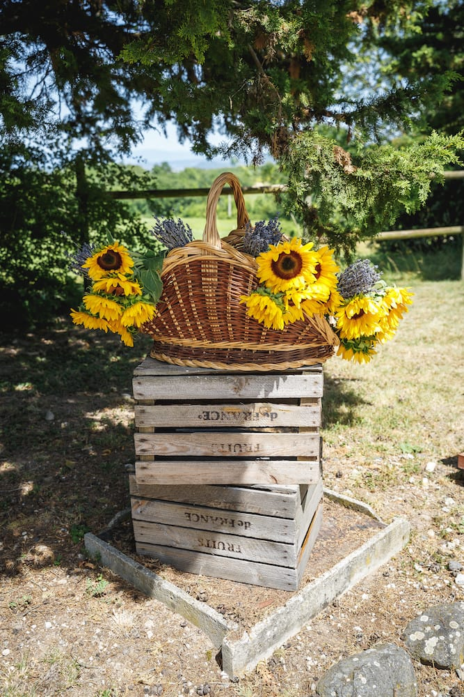 basket of sunflowers at Chateau du Bijou